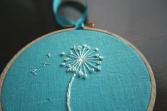 Items similar to Wish on a Pouf Embroidered Dandelion on Etsy Embroidery Needles, Embroidery Hoop Art, Cross Stitch Embroidery, Stitch Witchery, White Necklace, Needle And Thread, Needlework, Helmet, Etsy