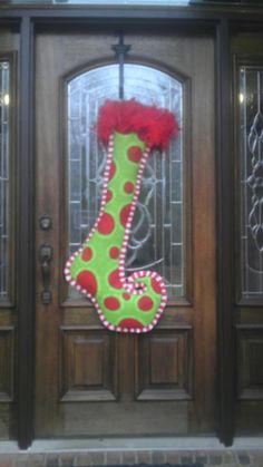 Extra large whimsical burlap stocking door hanger Large Christmas Stockings, Christmas Door, Christmas Signs, Winter Christmas, All Things Christmas, Christmas Time, Burlap Stockings, Christmas Crafts, Christmas Decorations