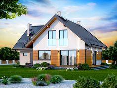 Wizualizacja DN NOELIA MODERN 2M CE House Plans, Garage Doors, Cabin, Mansions, House Styles, Outdoor Decor, Modern, Home Decor, Hens