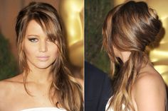 Sometimes it's okay to pick sides.  We heart this side-swept Valentine's Day hair idea as seen on Jennifer Lawrence