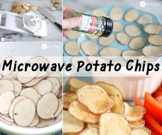 potato chips are the snack in the United States. We eat billion pounds of potato chips each year! Microwave Potato Chips, Microwave Recipes, Appetizer Recipes, Snack Recipes, Cooking Recipes, Healthy Recipes, Healthy Treats, Healthy Eating, Growing Sweet Potatoes