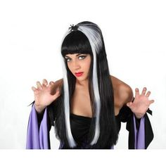 Classic Long Witch wig with White streaks and spider on her head Wig Hairstyles, Wigs, Wonder Woman, Black And White, Spiders, Classic, Inspiration, Books, Fashion