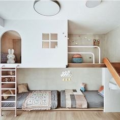 Go to a child& room with a floor slide, multiple low beds, and a .- Gehen Sie an einem Kinderzimmer mit einer Etagenrutsche, mehreren niedrigen Betten und einem … Go to a children& room with a floor slide, … - Kids Bedroom Designs, Room Design Bedroom, Kids Room Design, Bedroom Decor, Modern Kids Bedroom, Lego Bedroom, Childs Bedroom, Bedroom Ideas, Cool Kids Rooms