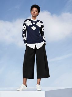 Women's Navy and White Floral Lace Appliqué Sweat Top XL - Victoria Beckham for Target, Blue Victoria Beckham Collection, Victoria Beckham Target, Victoria Beckham Clothing Line, Baskets, Target Clothes, Navy Women, Trendy Fashion, Women's Fashion, Female Fashion