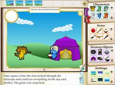 One of my favorite sites for digital storytelling.  Lots of characters, backgrounds, objects and actions to choose from.