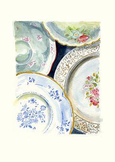 Still Life Kitchen Decor of Original Watercolor Painting