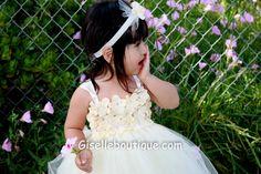 Flower girl dress Gorgeous Ivory TuTu Dress. by giselleboutique
