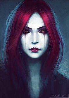 Image via We Heart It #art #blood #creepy #cry #dark #death #gothic #horror #illustration #real #redhair #redlips #redhead #sad #scary #vampire