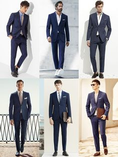 Men's Navy Cotton Suit Spring/Summer Outfit Inspiration Lookbook