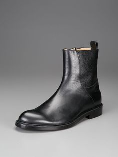 Pebbled Leather Zip Up Boots by Calvin Klein Collection Footwear on Gilt