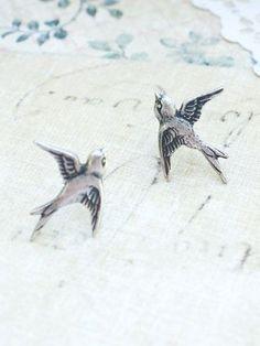 Tiny Bird Stud Earrings Antique Silver Bird