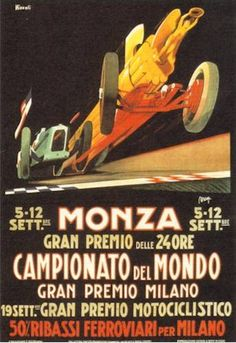 Program for the 1938 Italian Grand Prix at Monza. Italy's own Tazio Nuvolari piloted his Auto Union to victory in the event, ahead of his countryman Giuseppe Farina in a Scuderia Ferrari Alfa Romeo. Germany's Rudolf Caracciola took third in his Mercedes. School Posters, Car Posters, Formula 1, Vintage Italian Posters, 24 Hours Le Mans, Gp F1, Italian Grand Prix, Racing Events, New Sports Cars