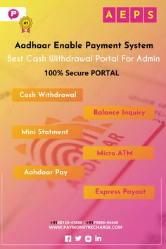 Paymoney Recharge Provides Best Aadhaar Enable Payment System with 100% Secure & Best Features. More Info for call +9188130-45888   +9179886-04440 Online Mobile, Enabling, Software Development