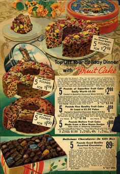 Fruitcake from the1937 Sears Wishbook. True fact: 96% of this fruitcake is still being regifted.