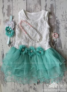 White Rosette Baby Dress, Flower Girl Dress, Teal Lace Dress, Photo Prop, Toddler Dress, Toddler Tutu Dress, White Baby Dress, Teal Dress by RosesRufflesBoutique on Etsy