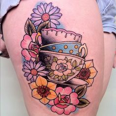 I'd replace the flowers with a different flowers, but I love this idea! (tea time tattoo @Karen Farnham Robinson)