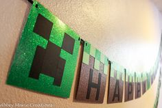 This listing is for a Minecraft inspired Happy Birthday banner featuring Creepers and Dirtgrass. This banner is made from premium glitter