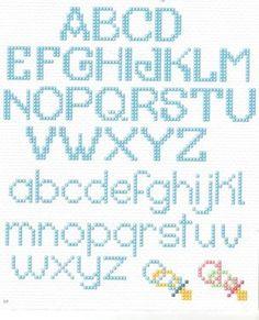 32 alphabets in cross stitch - Crochet Alphabet, Cross Stitch Alphabet Patterns, Embroidery Alphabet, Cross Stitch Designs, Embroidery Patterns, Stitch Patterns, Cross Stitch Numbers, Cross Stitch Letters, Just Cross Stitch