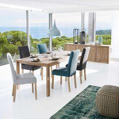 Table de salle à manger à rallonges en chêne massif blanchi L 160 cm Baltic | Maisons du Monde
