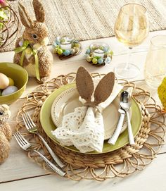 Create a cheery and tasteful setting for your Easter brunch with ivory lace napkins, natural-looking woven placemats, and sage green accents. Pin it to your boards! » Get more information at Pier 1 Imports - CountryLiving.com