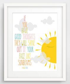 'Good Thoughts' Roald Dahl Quotation Giclée Print