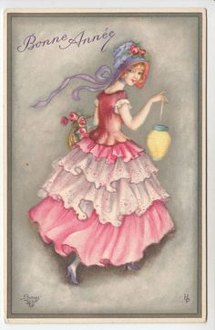 Pretty Lady with Lantern, Bonnet, Ruffled Dress - Artist Drawn Art Deco PC (601)