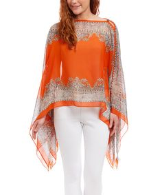 Look at this Orange Arabesque Cape-Sleeve Top on #zulily today!