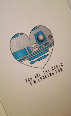 Star Wars Valentines Love Card by ShelbyGoelz on Etsy (Geek Stuff) Star Wars R2d2, Bd Star Wars, Carte Star Wars, Star Wars Droids, Star Wars Art, Star Wars Crafts, Valentine Love Cards, Valentines Day, Desenho Do Star Wars