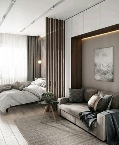 Classy Bedroom Wall Decor Ideas to Style Up Your Space - The Trending House Living Room Partition, Apartment Interior, Living Room Interior, Small Apartment Interior, Home Room Design, Bedroom Interior, Apartment Design, Hotel Bedroom Decor, Studio Apartment Decorating