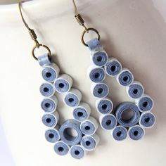 CLEARANCE Blue Teardrop Earrings Winter Fashion Unique Handmade by Paper Quilling Eco Friendly Jewelry