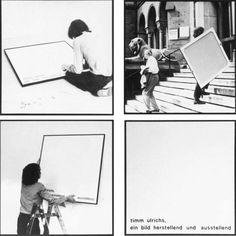 """Timm Ulrichs – """"Timm Ulrichs, ein Bild herstellend und ausstellend (5-8)"""" – 7 black /white photographs on canvas, one white painted canvas with sticky letters – 102 x 102 cm"""