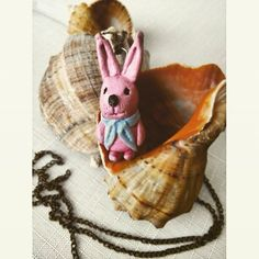 Pink rabbit ,necklace, hand made, oil paint