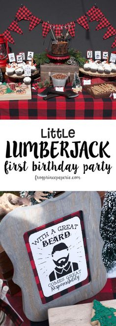 Little Lumberjack First Birthday Party ideas - buffalo check plaid and moose