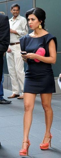 Who made Kourtney Kardashian's suede sandals, navy blue dress and jeweled clutch that she wore in New York? Dress - Paul  Joe Shoes - Fendi Purse - Jimmy Choo