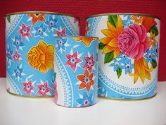 Mexican oilcloth on cans Fun Crafts, Diy And Crafts, Arts And Crafts, Diy Projects To Try, Craft Projects, Mexican Embroidery, Diy Crochet, Cool Diy, Ideas