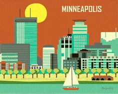 Minneapolis skyline print 2 color schemes by loosepetals on Etsy, $19.99