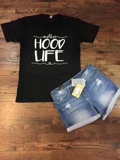 Soft knit black tee with white vinyl Mother Hood Life design.