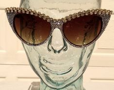 048f746ec0 Retro White Sunglasses with Swarovski Crystals and by IceItLLC