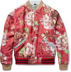 Gucci Reversible Geranium-Print Silk-Twill Bomber Jacket