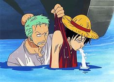 Zoro always saving Luffy whenever he's thrown to the water. It's just so cute :3