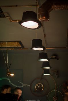 Cute  Steampunk Bistro Pub with nice Ceiling Lights