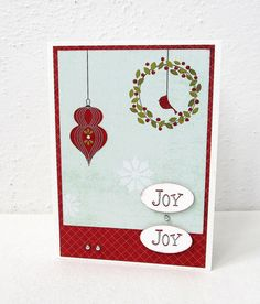 Joy Christmas Card  Red and Soft Turquoise  by PrettyByrdDesigns
