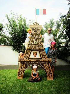 Paris theme party with crepes, French pop music and a giant cardboard Eiffel Tower for photo ops. Fun for everyone!!