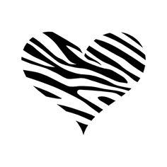 Zebra Pattern Heart Laptop Car Truck Vinyl Decal Window Sticker PV305