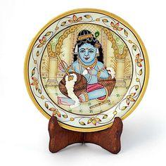Gold Meenakari Marble Bal Krishna Decorative Plate 395