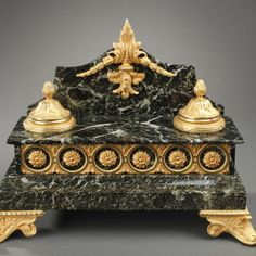 French 19th century green marble and gilt bronze inkstand