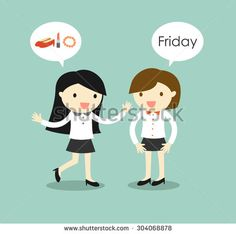Business concept, business women planning to go to shopping after they finish work on Friday. Vector illustration.