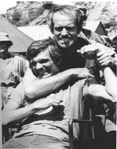 Alan Alda and Mike Farrell on the set of M*A*S*H, my favorite show. Old Tv Shows, Movies And Tv Shows, Mash Characters, Gary Burghoff, Alan Alda Mash, Harry Morgan, Mash 4077, Favorite Movie Quotes, Tv Actors