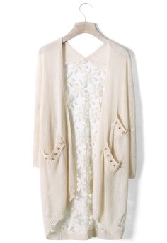 Daisy Floral Back Cardigan in Ivory $33.92  http://www.chicwish.com/daisy-floral-back-cardigan-in-ivory.html  #Chicwish