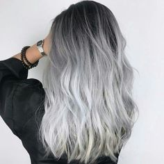 Gray Hair Might Be A Sign Of Serious Viral Infection - Study - grey hair - Hair Styles Ombre Hair Color, Cool Hair Color, Silver Ombre Hair, Black To Silver Ombre, Long Silver Hair, Dark Ombre, Silver Hair Styles, Brown To Grey Ombre, Brown And Silver Hair